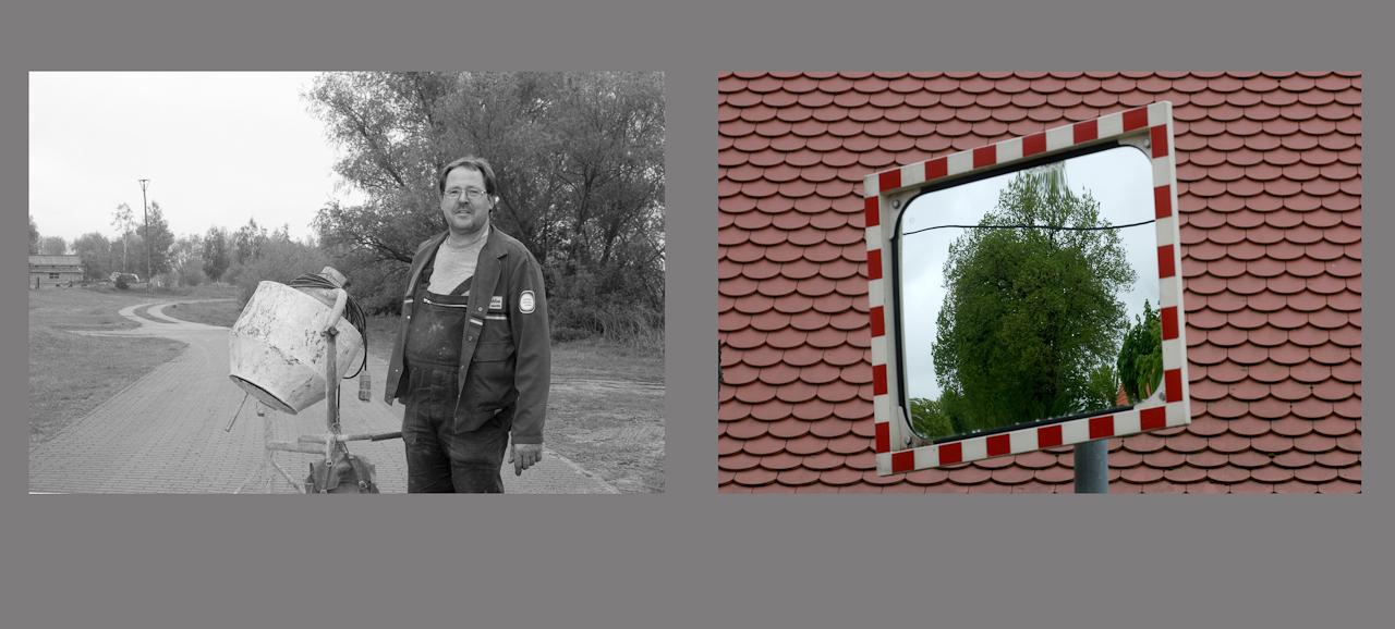 """""""Menschen auf dem Dowitzweg-  ein anhaltinisches Dorf im Havelland.""""  fotografiert am 7.12.2010 von Christiane Eisler. Hier Friedhelm mit seinem Betonmischer neben einem Motiv aus dem kleinen Dorf Warnau in der Nahe von Havelberg, entdeckt am 7.5.1010."""
