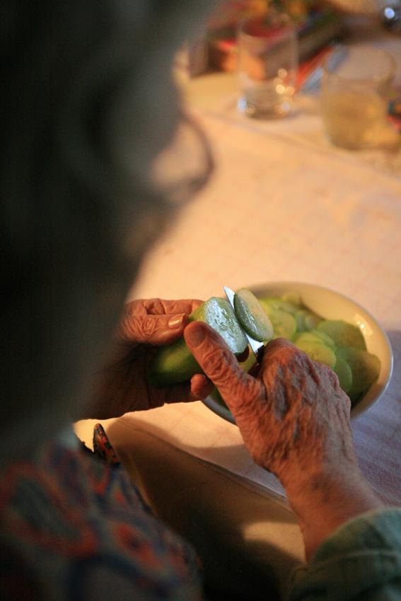 Die 86-jährige Hedwig Hansen sitzt im Wohnzimmer ihres Hauses in Tönnig und bereitet den Gurkensalat fur ihren Enkel zu, der sie besuchen wird.