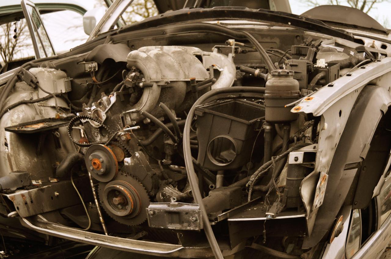 DEU, Deutschland, Norderstedt, 07.05.2010, Jaguar-Autowrack auf einem Schrottplatz bei Hamburg.