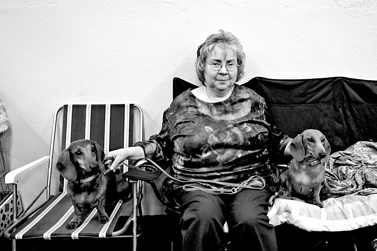 DEU, Deutschland, Dortmund, 07.05.2010, Eine Frau mit ihren Hunden bei einer Hundeausstellung.