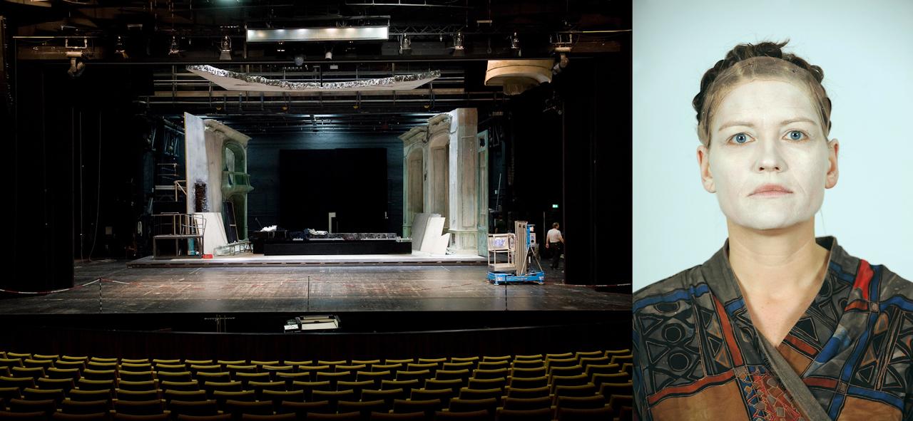 Verwandlung einer Theaterbühne und eines Gesichtes - eine Bildabfolge zur Veranderung eines Ortes.