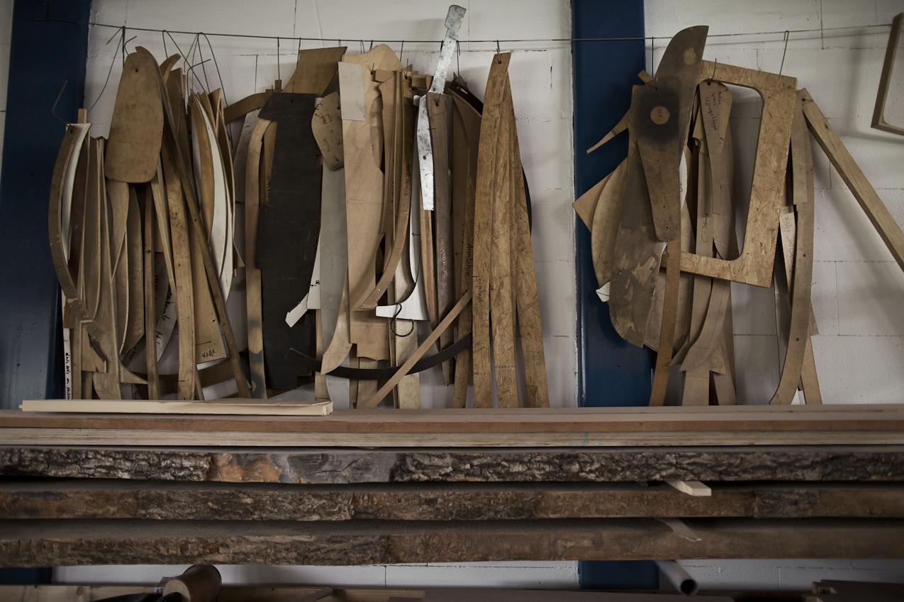 Schablonen für Holzintarsien.